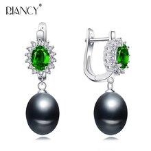 Fashion natural Freshwater black pearl Earrings  Green Zircon Pearl earrings for Women wedding party love gift New