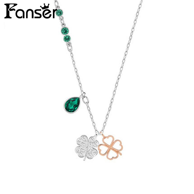 FANSER SWAROVSKS Four-leaf Clover Necklaces Official 1:1 Has the Logo. Elegant Ladies Womens Chain Free Package Mail JEWELRY