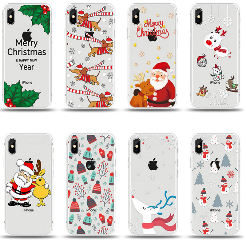 miyoufa christmas cartoon pattern soft tpu cover for iphone6 6s 7 8 plus silicone protective back
