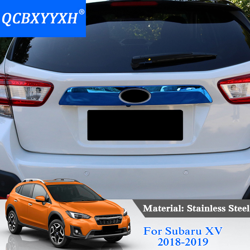 QCBXYYXH Stainless Steel Trunk Rear Protector Trim Cover Rear Bumper Protector Sill Car Tail Door Trim For Subaru XV 2018 2019 for subaru xv 2017 2018 suv stainless steel rear bumper protector sill trunk rear guard plate cover trim car styling accessories