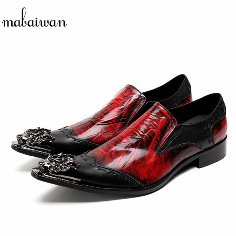 Mabaiwan Autumn Fashion Casual Men Shoes Red Loafers Slipper Party Dress Shoes Men Slip On Handmade Genuine Leather Cowboy Flats mabaiwan italy casual men shoes snakeskin leather loafers fashion slipper wedding dress shoes men slip on handmade party flats