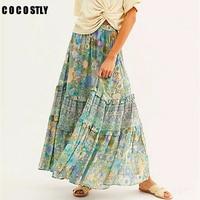 Boho Style Amethyst Women Maxi Skirt Tiered ruffle style summer skirt for women elastic waist gypsy boho skirt long 2019 faldas