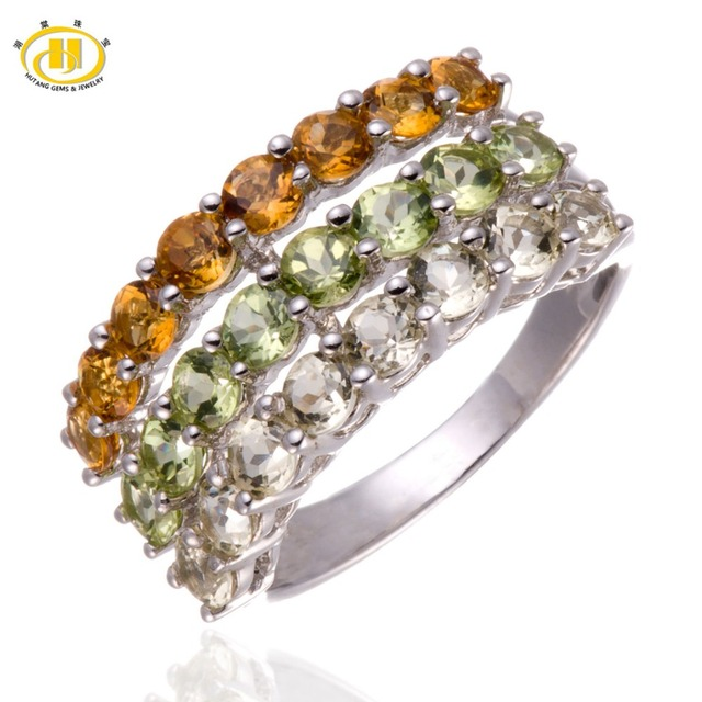 Hutang Genuine Citrine & Peridot & Lemon Quartz Solid 925 Sterling Silver Cluster Ring Fine Jewelry Mother's Day Gift