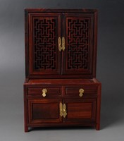 Exquisite Chinese Classical Antique Imitation Qing Dynasty Old style Rosewood Cabinet Cupboard Mini Furniture