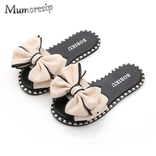 Mumoresip Hot Summer Sandals Slippers For Big Kids Big Girl Sandals Slides  With Big Bow- 4c931345f24a