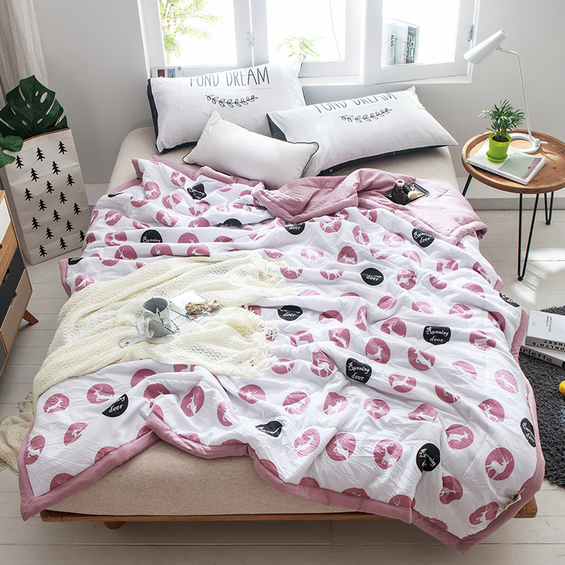 Cartoon White Deer Pattern 1PCS Bedding Coverlet/ Bedspread Quilt/Summer Duvet Quilt ...