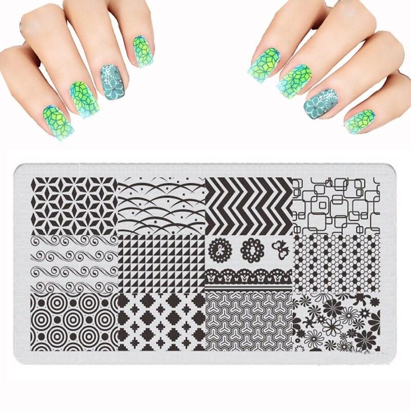 New Fashion 6cmX12cm Set Nail Art modelli fiore striscia ondulato - Manicure
