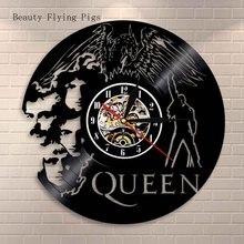Queen Rock Band Orologio Da Parete Design Moderno Musica A Tema Classico Disco In Vinile Orologi Da Parete Orologio di Arte Complementi Arredo Casa Regali per Musicista