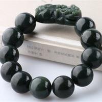 TNUKK 14/16mm100% Natural Dark Green HETIAN nephrite Stone Bracelets Pixiu Bracelets Round Beads Bracelets Bangles Men's Jades