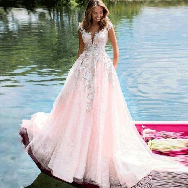 Amazing ลูกไม้ Tulle อัญมณี A Line ชุดแต่งงานกับลูกปัดภาพลวงตากลับ Applique สีชมพูชุดเจ้าสาว vestido de novia