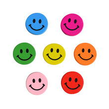100pcs DIY fashion Jewelry Findings Bracelet Accessories Cartoon Wooden beads Mix Color cartoon Smile Face 7 colors