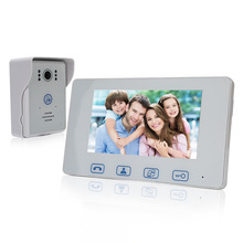 Saful 7″ Touch key Rainproof Wired Video Door Phone unlock function Night vision 1 Door Camera + 1 White Monitor