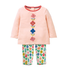 Jumping meters Brand 2019 Autumn Spring Baby Girls Flower Embroidery Printing Long sleeve dress clothes set For Kids clothing все цены