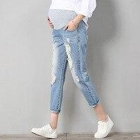 Spodnie Ciążowe jeansowe Spodnie Dla Kobiet W Ciąży Ubrania Prop Brzuch Ciążowy Legging Odzież Kombinezony Spodnie Dziewiątego Spodnie Opieki Nowy