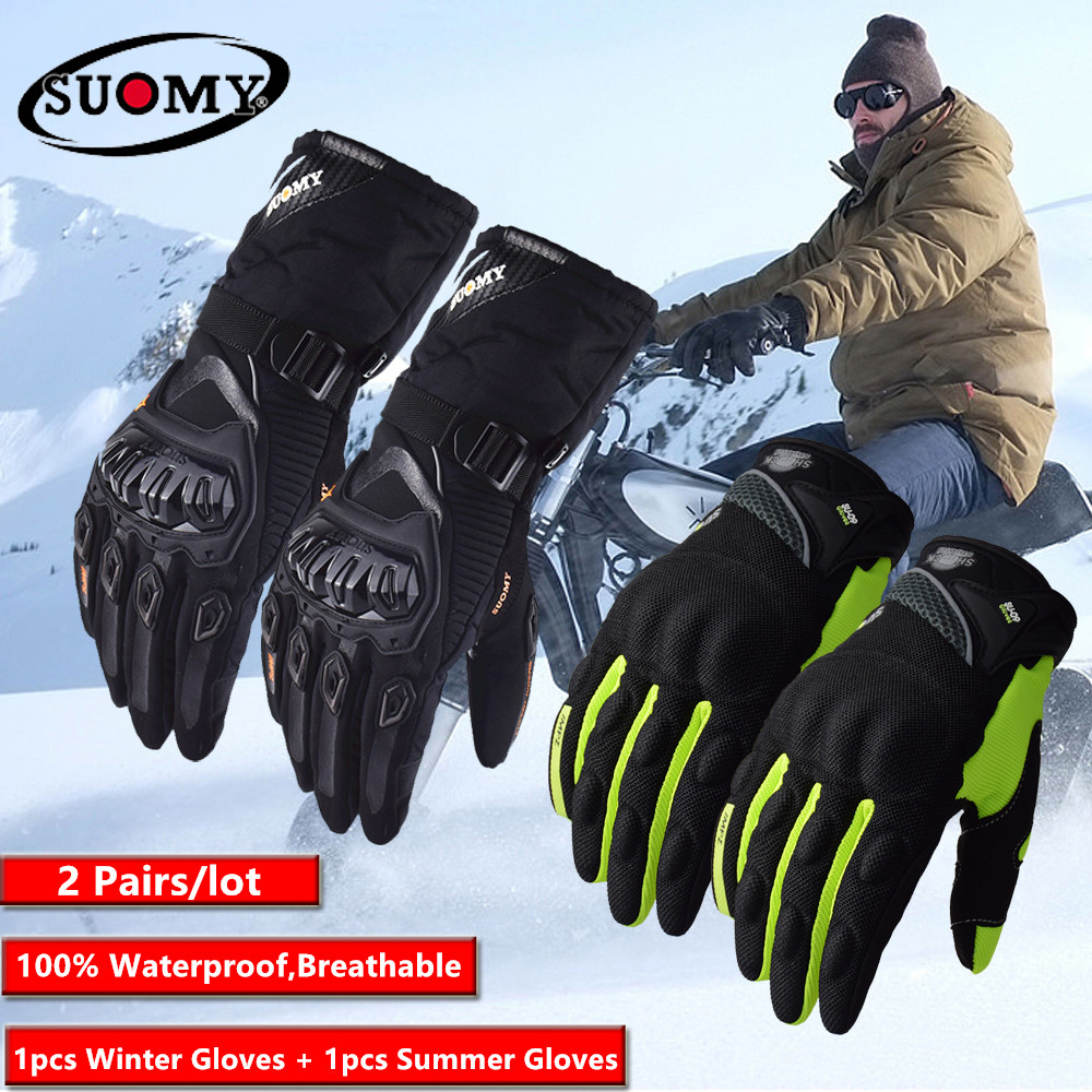 2 Paare/los Suomy Winter Warme <font><b>Moto</b></font> rcycle Handschuhe 100% Wasserdicht Guantes <font><b>Moto</b></font> Luvas Touchscreen luva <font><b>moto</b></font> ciclista luvas <font><b>moto</b></font> image