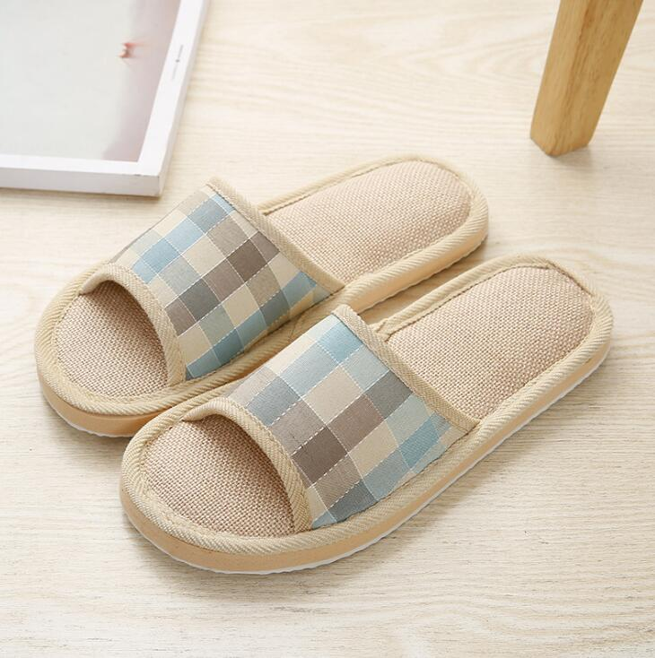 2019 Men Slippers HM47 57 Slippers Khaki Blue Cotton Slippers For Men Shoes High Quality Home