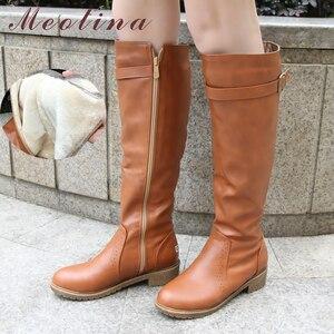Image 2 - Meotina kış kadın binici çizmeleri tıknaz alçak topuk motosiklet Boots ayakkabı Zip toka sonbahar kadınlar yüksek çizmeler sarı büyük boy 9 10