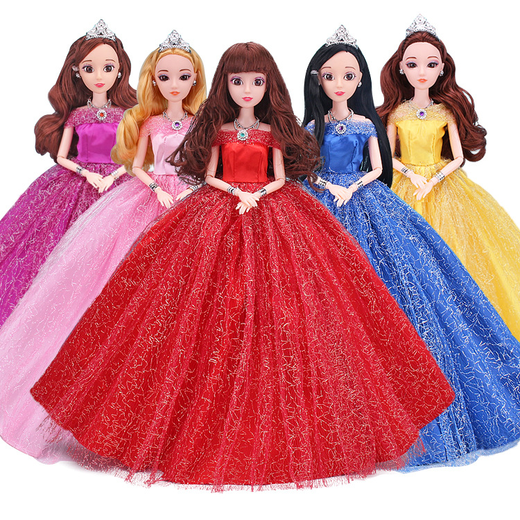 4D Eyes Long Dresses Girls Dolls Children Toys Movable Body 12 Joints 30cm Beautiful Princess Dolls With Wedding Dress