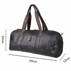 Image 3 - PU skórzane męskie torby podróżne codzienna torba na ramię marka mężczyźni torba torebka Tote Travel torba worek Vintage Sac De Voyage