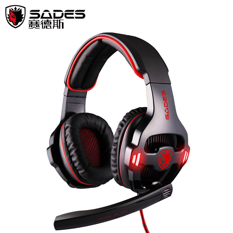 Sades SA-903 7.1 Surround Sound USB Headphones Pro Gaming Headset For PC Gamer Headphone With Microphone Remote Control Earphone  sades sa 903 7 1 surround sound over ear pc headset gaming headphone usb game earphone with mic volume led lighting for computer