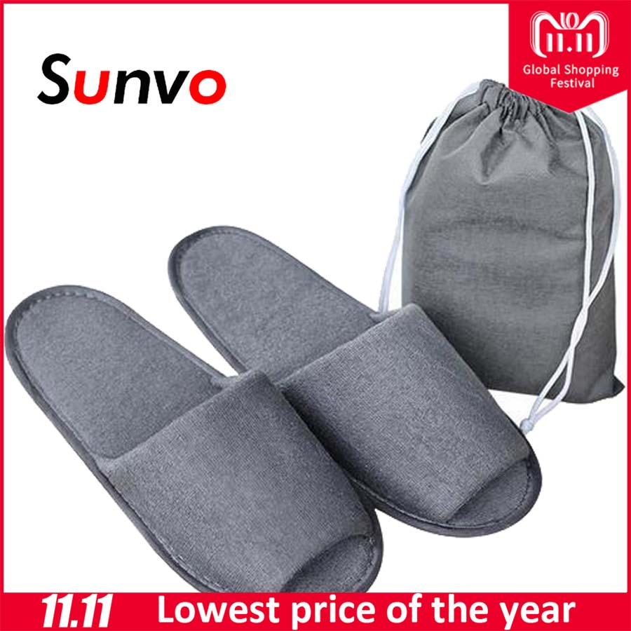 Sunvo Simple Slippers for Men Travel Business Trip Hotel Club Spa Portable Folding House Home Guest Indoor Flip Flop Inserts
