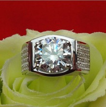 750 White Gold Man Ring Moissanite Splendid Men Jewelry Gold Ring 5ct Synthetic Diamonds Moissanite Engagement Jewelry Gentleman
