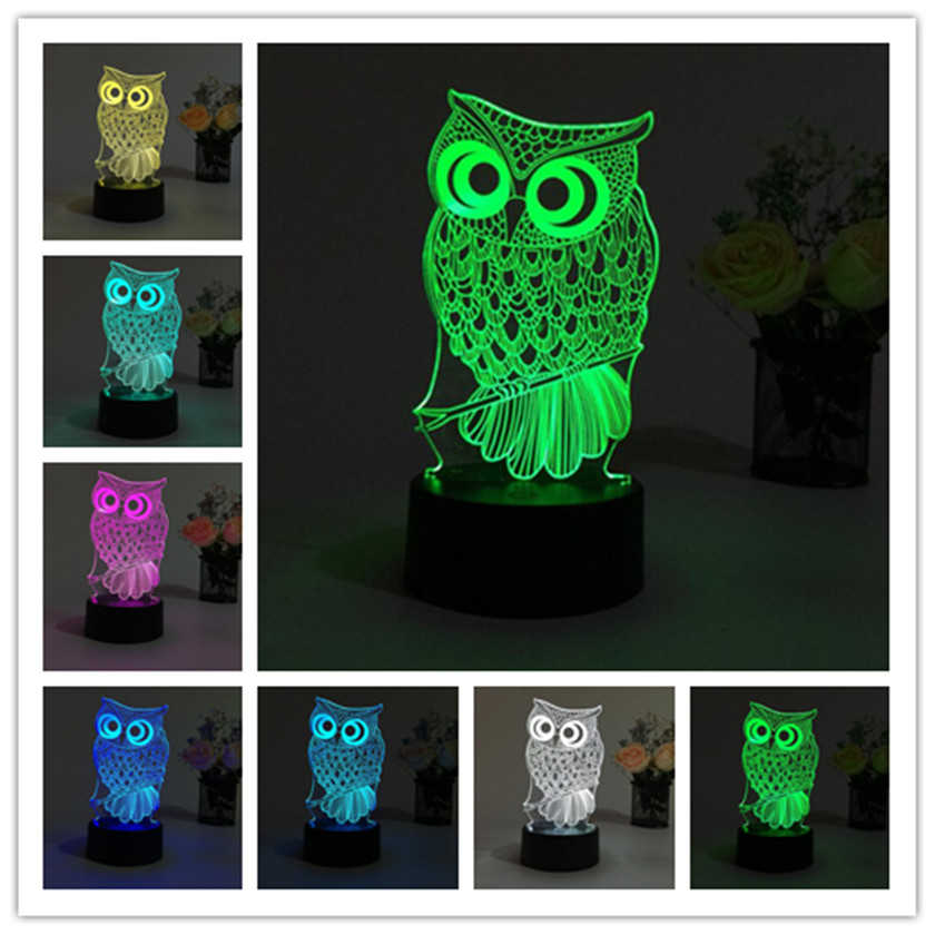 3D illusion OWL Night Light RGB LED Desk Light USB Table Lamp Night lamp Remote Sleeping kids light Luminaria de mesa Lampara white rotating rechargeable led talbe lamp usb micro charging eye protection night light dimmerable bedsides luminaria de mesa
