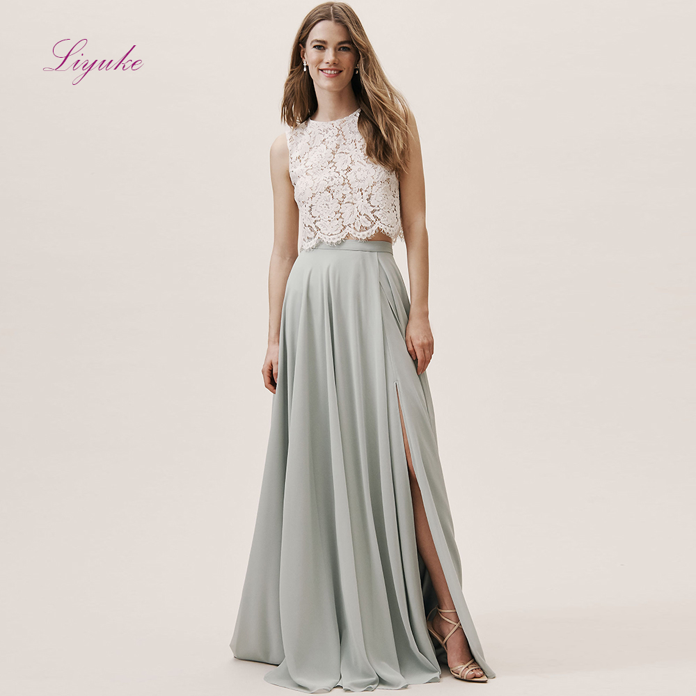 Liyuke A line   Bridesmaid     Dress   Two-pieces Lace Appliques Chiffon Split Skirt Customer Made Size Free Shipping