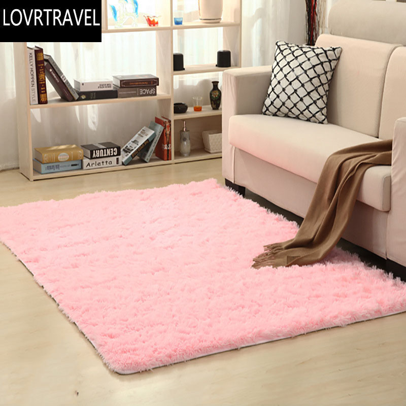 LOVRTRAVEL Square Long Plush Thickened Washed Silk Slip Rug Carpets ...