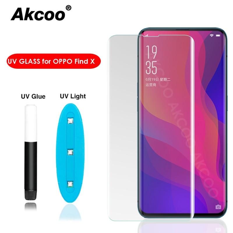 Akcoo Nano UV Liquid Adhesive Glass Screen Protector For OPPO Find X Full Cover Tempered Glass Clear Find X Screen Protector