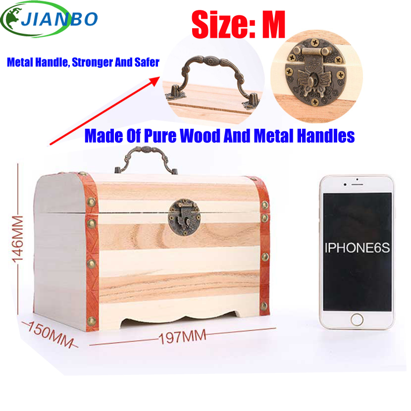 New 1PC Retro Wooden Piggy Bank Safe Metal Lock Money Saving Case Natural Wood Line Handmade Money Storage Key Box Drop Shipping