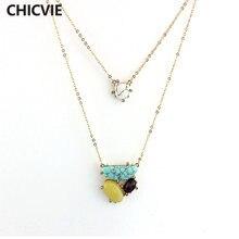 Chicvie многослойные ожерелья и подвески из белого камня золотого