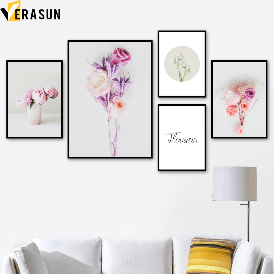 Pink Flower Posters And Prints Wall Art Canvas Painting Nordic Poster Flower Paintings Wall Pictures For Living Room Home Decor in Painting Calligraphy from Home Garden