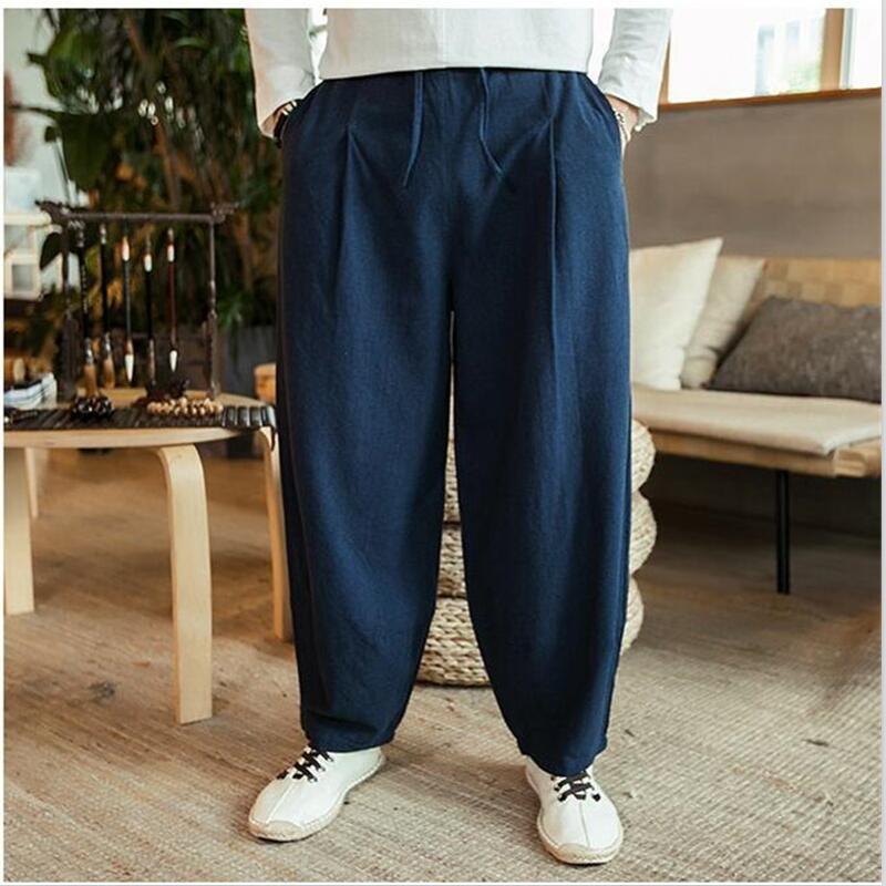 Large Size 6XL 7XL Men's Wide Leg Pants Cotton Linen Loose Harem Pants Summer Pure Trousers Male Loose Pants Drawstring