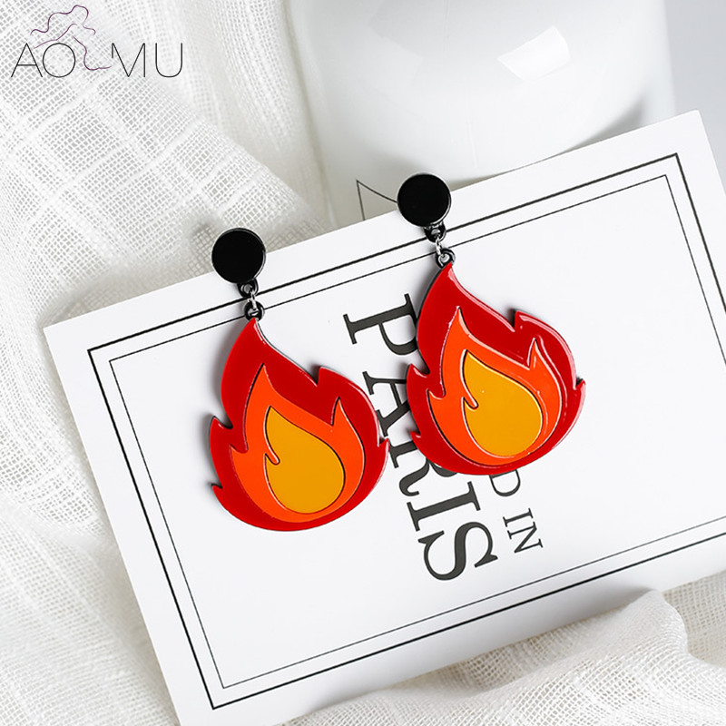 US $2.31 14% OFF|AOMU Fashion Personality Exaggerated Creative Acrylic Fire Flame Big Earrings Hip Hop Night Club Women Dangle Earrings Jewelry-in Drop Earrings from Jewelry & Accessories on Aliexpress.com | Alibaba Group