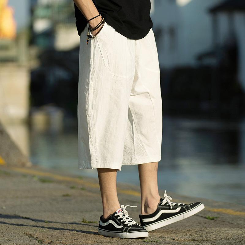 M-5XL Wide Leg Linen Drawstring Pants Elastic Waist Three Quarter Linen Trousers Mens Summer Loose Fit Casual Pants XXXXXL