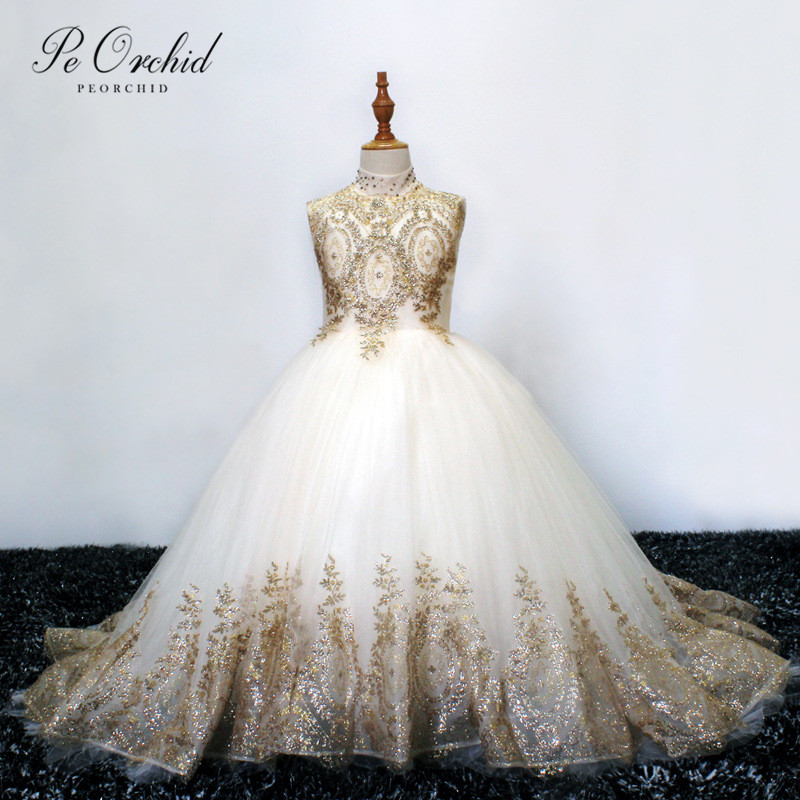 PEORCHID Gold Lace Ball Gown   Flower     Girls     Dress   For Weddings Robe Fille Mariage First Communion Party Pageant   Dresses   For   Girls