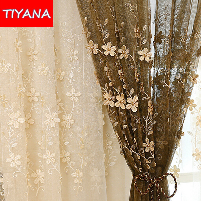 European Pearl Embroidery Flower Beige Sheer Voile Cortinas For The Living Room Coffee Curtain Tulle