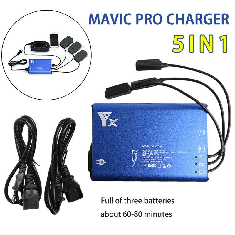 5in1 Mavic pro Batterie De Charge USB Chargeur Batterie Parallèle RC Smartphone pour DJI MAVIC PRO