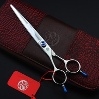 7inch Lefted Hand Double Tail High Quality Purple Dragon Pet Grooming Scissors with case Free Shipping