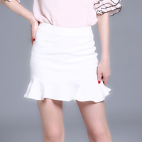 Classic Jacquard Trumpet Skirts for Women White Color Casual Slim Fit Short Mermaid Ladies Skirt ssd162