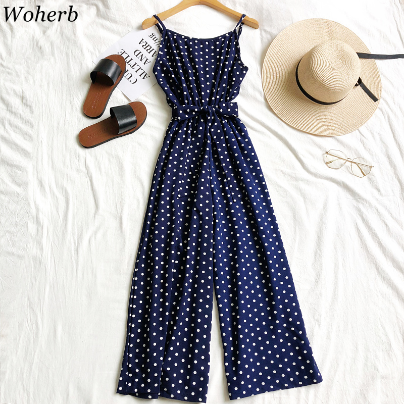 Woherb 2020 New Fashion Casual   Jumpsuit   Rompers Women Vintage Polka Dot Print Bandage Bodysuit Summer Wide Leg Pants 21827