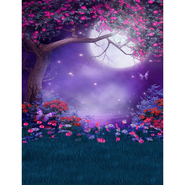 Fairy Tale Night Moon Flowers Tree Photography Backdrops
