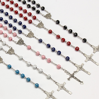48 Pieces / Religious St. Benedict Cross Bead Necklace Cross Icon Beads Rosary Necklace