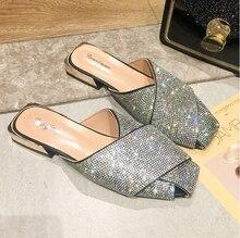 라인 석 슬리퍼 2020 새로운 여성 패션 야생 해변 플립 플롭 밝은 다이아몬드 플랫 하단 야외 야생 학생 샌들 E986