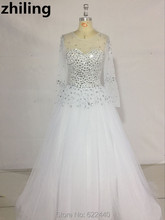 Luxurious Beaded&Crystals Ball Gown Wedding Dresses Sheer Long Sleeves Wedding Gown Bridal Dress Vintage Bridal Gown