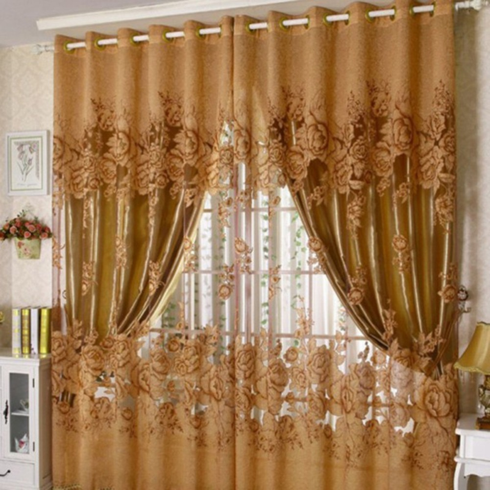 2016 New Peony Pattern Curtains For Living Room Window Voile Curtains Tulle  Sheer Home Decor Purple