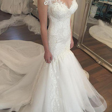 Fnoexw Mermaid Wedding dresses Train Cap Sleeve