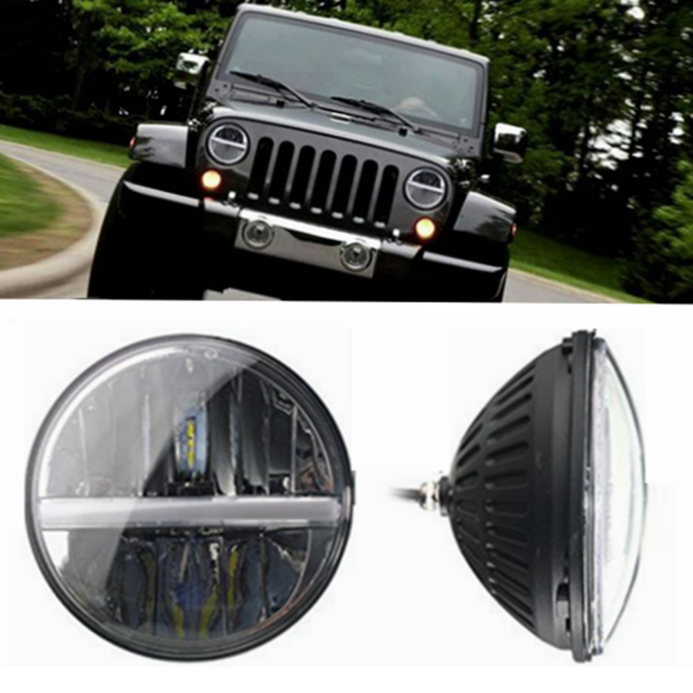 7 Inch 30w H4 H13 LED Headlight with White Ambler Halo Angel Eye & Turn Light & DRL for Jeep Wrangler Jk Tj Cj Lj Hummer H1 H2 7 inch round led headlightdaymaker drl angel eye with 4 5 inch fog lights halo with 7bracket support ring for jeep