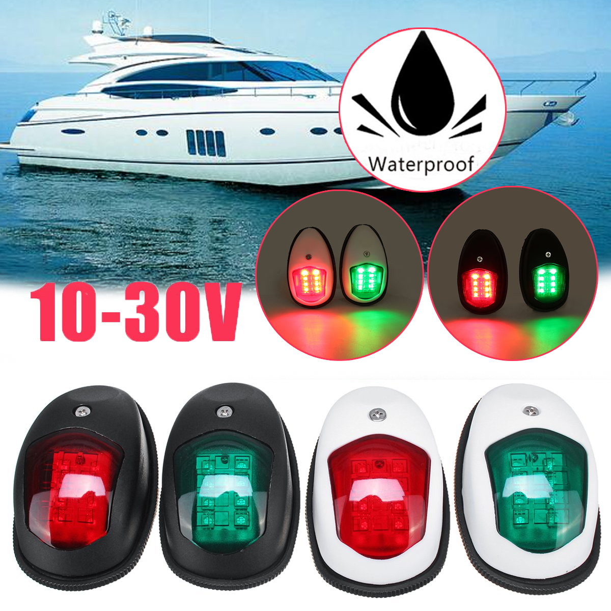 2Pcs Universal LED Side Light Signal Lamp Side Marker Light Navigation Lamp For Marine Boat Yacht Truck Trailer Van